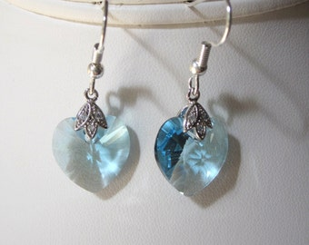 Aquamarine Swarovski Crystal Earrings - Dangle Earrings in Crystal Hearts, Perfect for a Wedding, Bridal, Bridesmaid, Prom, Formal, Elegant
