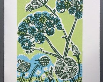 Seed Bloom Linocut Print Original