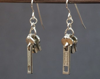 Zipper Pull Earrings- Silver Zipper Earrings, Found Object Jewelry, Upcycled Jewelry, Recycled Jewelry, Silver Zipper Jewelry by Tanith Rohe