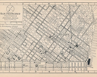 1925 San Francisco California Antique Map