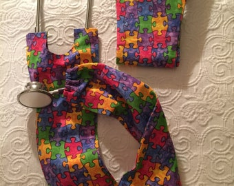 Colorful Autism Awareness Patterned Stethoscope Cover, includes donation to Autism Speaks