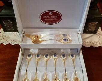 Royal Albert Moonlight Roses Teaspoons, Jam Spoon and Butter Knife