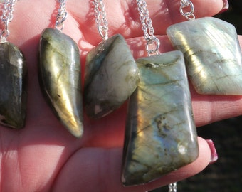 Cleansed Labradorite Crystal Necklace