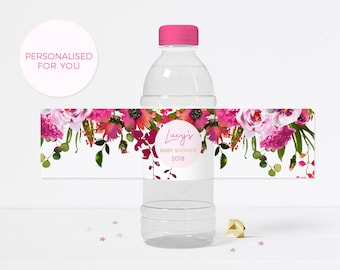 Bright pink Baby shower water bottle label, PRINTABLE floral bottle label, pink baby sprinkle labels, personalised baby shower label digital