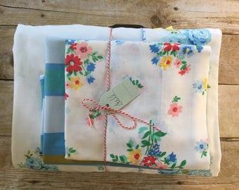 Vintage Remixed Full sheet set / Full Flat sheet / Full fitted rainbow sheet / Vintage pillowcases