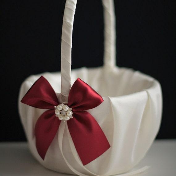 Burgundy flower girl basket burgundy wedding basket dark mightylinksfo