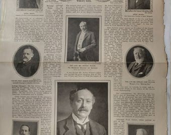 Antique Broadsheet Page - The Illustrated London News Oct. 30, 1909
