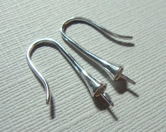 Rhodium plated 925 Sterling Silver Earring French Hooks Cone Conical bead cap for half drilled beads and drops, 1 pair - EW-0053