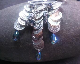 Skull, Heart shawl pin/kilt/brooch/fastener, Steampunk, Belly dance coins