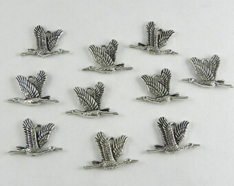 12 Flying Crane/Heron Bird Charms in Antique Silver - 21mm x 15mm - two sided