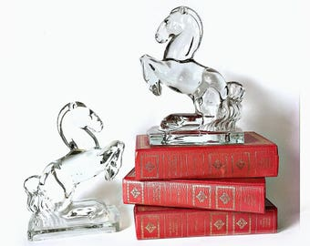 Vintage Glass Horse Bookends, Clear Glass Horse Figurines, New Martinsville Mid Century Glass Horse Book End Figurines, Rearing Horses
