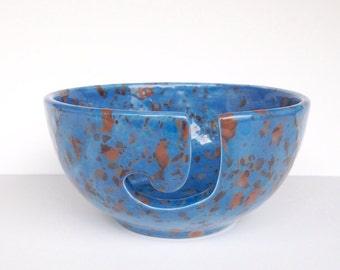 Speckled Ceramic Yarn Bowl - Blue with Brown Pottery Knitting Bowl