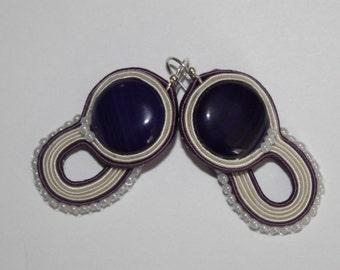 Purple and Cream  with Stripped Agate Soutache Earrings
