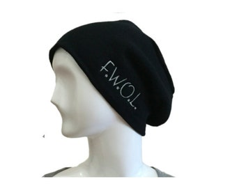 "Beanie - Slouch - ""F.W.O.L"", Original Embroidered Graphic Design"