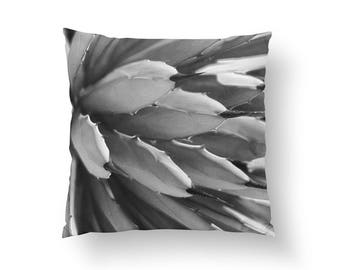 Aloes Black Pillow, Botanical Pillow, Home Decor, Cushion Cover, Throw Pillow, Black And White, Boho Desert, Decorative Pillow, Aloe Art