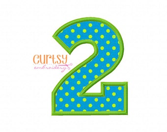 TWO Embroidery Design, TWO Applique Design, Second Birthday Embroidery Design, Applique Numbers, 2nd Birthday Embroidery
