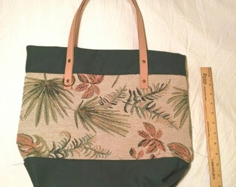 Tropical Inspired Floral Tote Bag With Green Canvas Base and Lining and Genuine Leather Straps with Brass Details