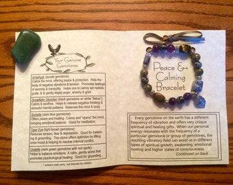 Peace and Calming Gemstone Bracelet, Healing, Energy