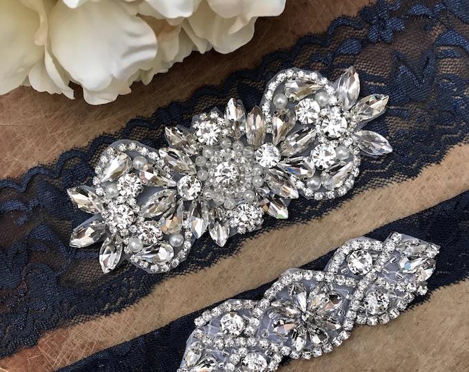 Navy Wedding Garter Set NO SLIP grip vintage rhinestones, pearl and rhinestone garter set, Something Blue A26-A*02S