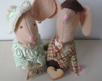 Wedding Mice Cake Toppers, Wedding Couple, Handmade Mice, Felt Mice