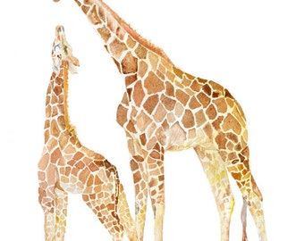 Giraffes Watercolor Painting - 5 x 7 - Giclee Print Reproduction - African Animals Mother and Baby Giraffe - Nursery Art