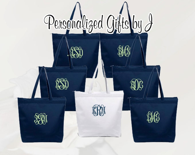 10 Personalized Zippered Tote Bag Bridesmaid Gift Set of 10- Wedding Party Gift- Bridal Party Gift- Initial Tote- Mother of the Bride Gift