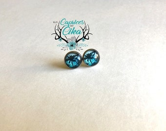 stainless steel stud earring set - palm silhouette blue sky. Spring, summer.