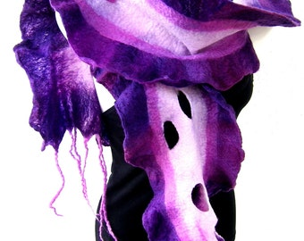 Felted Scarf Ruffle Wavy, Purple Orchid Pink White, Felt Scarf With Tassels and Holes, Merino Wool