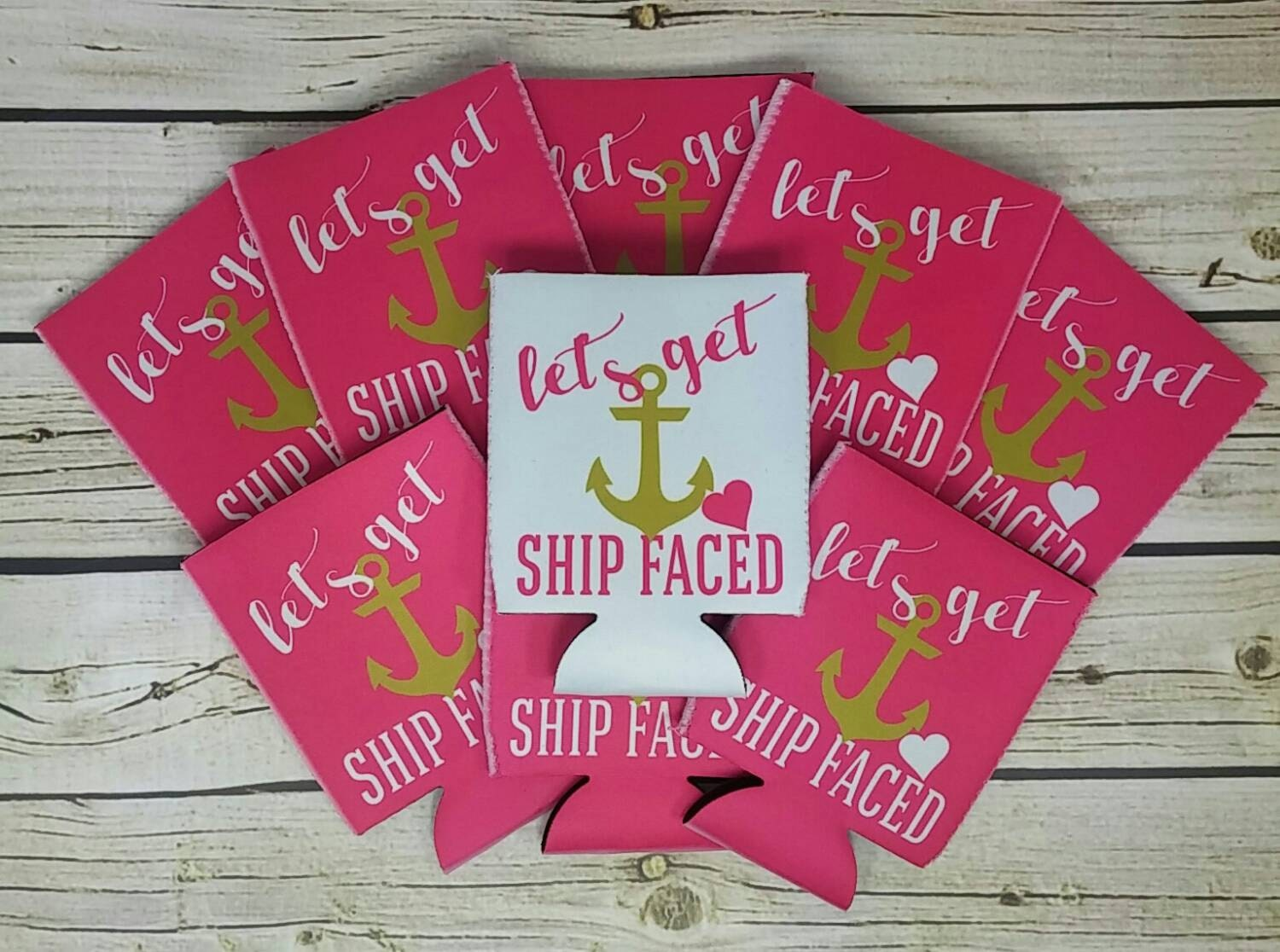 bride\'s crew pink and gold lets get ship faced can coolers