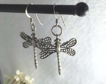 Sterling Dragonflies Dangle Pierced Earrings