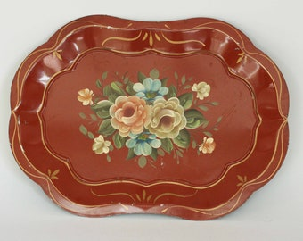 vintage tole tray hand painted dec-art phila.pa