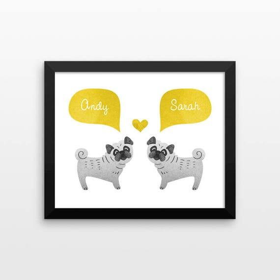 PUG Dog Couple Wall Art Print Decor Personalized Engagement Gift for Couple Gift Wedding Gift Idea Anniversary Gift for Men Women Him Her