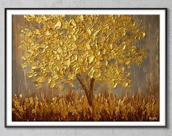 Custom Floral Oil Painting | Golden Tree in a Golden Field | Autumn Vibe | 80 by 60 cm | 31.49 by 23.6 inches | Medium Large Oil Painting