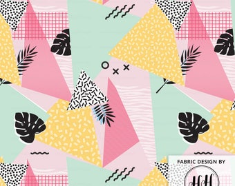 Memphis Style Fabric By The Yard - Retro 80's Geometric Abstract Memphis Theme Print in Yards & Fat Quarter