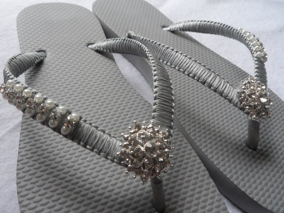 496aec9ad ... Flip Bridal Flops Gray Pearls Flops Color Rhinestone Pearls amp  Flip  Gray Wedding Sandals Shoes