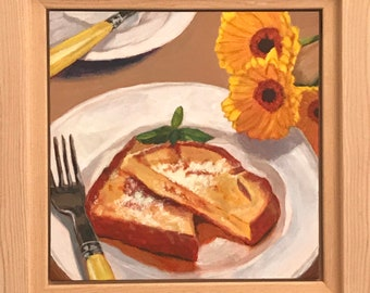 "SALE, Acrylic painting, still life French toasts on 6""x6"" gessoed panel"