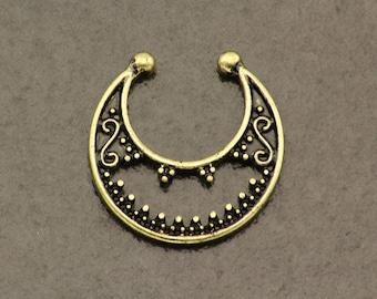 Bronze Septum Ring. Tribal Fake Nose Ring. Boho Fake Piercing. Bohemian Clip On Septum. Hippie Faux Septum Ring. Fake Body Jewellery.