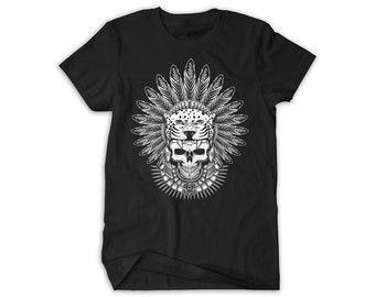 Aztec Jaguar Warrior Skull Native & Feathers Crewneck T-Shirt