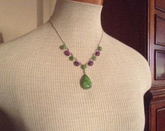 925 green stone  & Suglite  Necklace 18-20 inches