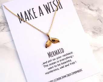 Mermaid gold delicate necklace, minimalist dainty necklace, talisman mermaid necklace, everyday simple necklace, minimalist jewelry
