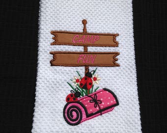 Embroidered kitchen or hand towel Camp Fun