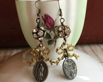 Tied in a bow- unique vintage assemblage earrings