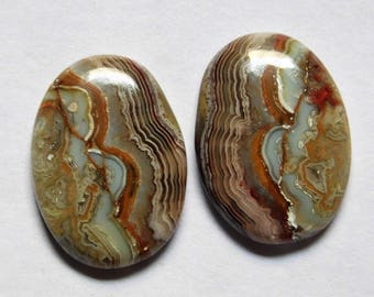 16.20 Cts Natural Crazy Lace Agate (19mm X 14mm each) Loose Cabochon Match Pair