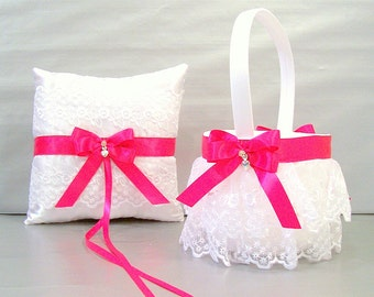 Fuchsia Pink Wedding Flower Girl Basket and Ring Bearer Pillow Set on Ivory or White ~ Allison Line ~ (May also be purchased individually)