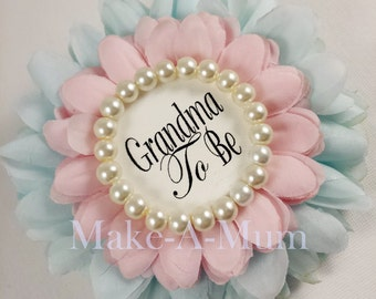 Gender Reveal Baby Shower corsage, baby shower favor,  Mommy To Be Pin, Grandma To Be Pin,GLASS PEARLS,  pINK/bLUE GTB pearl