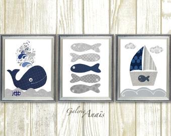 Nautical nursery decor whale nursery wall art Bathroom art  Baby Boy Nursery Decor Boat fish gray navy blue ocean sea - Set of three prints