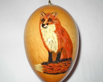 Red Fox Christmas Ornament, Hand Painted Wood Ornament, EGO-22
