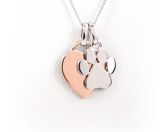 Engraved Paw Print Charm Rose Gold Plated Heart Necklace - Dog Lover Gift - Paw Print Jewelry -Paw Print Necklace -Dog Lover Gift -Pet Lover