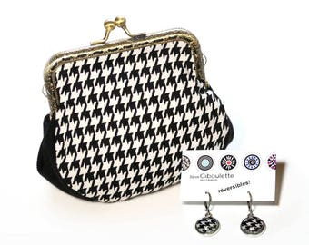 Gift kit for Christmas. Black and white coin purse vintage inspiration houndstooth print Loli. Houndstooth earrings by Bijoux Ciboulette.