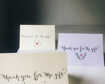 hand lettered thank you cards/calligraphy thank you notes/ calligraphy thank you cards/thank you card/ thank you note/hand made thank you